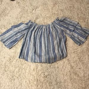 Off the shoulder blue and white striped shirt